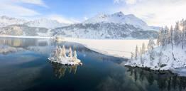 Aerial panoramic view of Lake Sils and Plaun da Lej during winter, Maloja Region, Canton of Graubunden, Engadine, Switzerland, Europe (Drone) - RHPLF05538