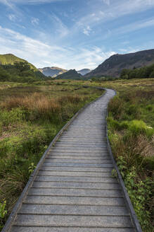 A raised path in the Borrowdale Valley with Castle Crag the prominent hill in the centre of image, Lake District National Park, UNESCO World Heritage Site, Cumbria, England, United Kingdom, Europe - RHPLF05598