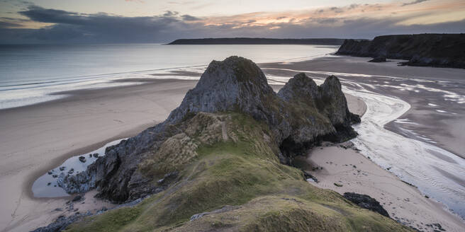 Three Cliffs Bay at sunset, Gower Peninsula, South Wales, United Kingdom, Europe - RHPLF05733