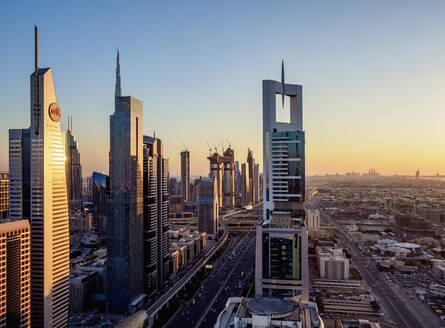 Dubai International Financial Centre at sunset, elevated view, Dubai, United Arab Emirates, Middle East - RHPLF05751