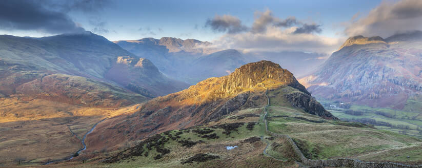 Panoramic image taking in the Langdale Pikes with Side Pike in the foreground, Lake District National Park, UNESCO World Heritage Site, Cumbria, England, United Kingdom, Europe - RHPLF05856