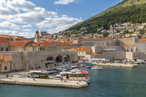 View of boats in harbour of Dubrovnik Old Town from the wall, UNESCO World Heritage Site, Dubrovnik, Dalmatia, Croatia, Europe - RHPLF06063