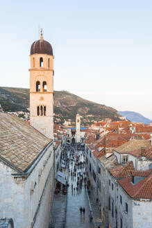 View down Stradun from the city walls, UNESCO World Heritage Site, Dubrovnik, Croatia, Europe - RHPLF06102