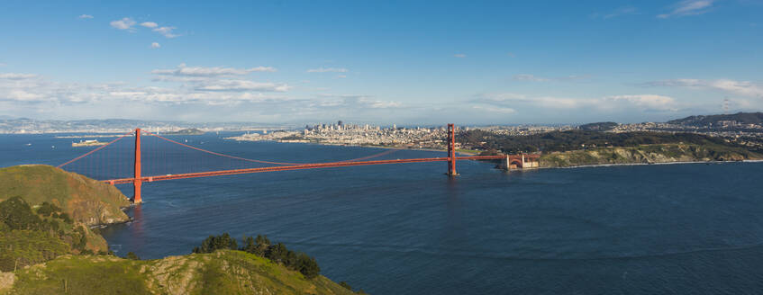 View of the city and Golden Gate Bridge from Marin Headlands, San Francisco, California, United States of America, North America - RHPLF06474