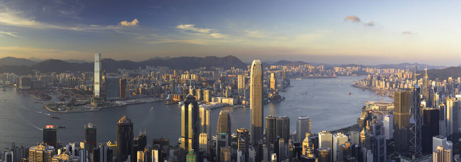 Skyline of Hong Kong Island and Kowloon from Victoria Peak, Hong Kong Island, Hong Kong, China, Asia - RHPLF06872