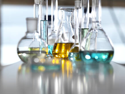 Chemical Research, A range of chemical formulas being developed in the laboratory for research into new products - ABRF00459