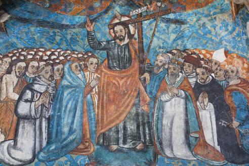 Original 16th century frescoes, Convent de San Bernadino de Siena, built 1552-1560, Valladolid, Yucatan, Mexico, North America - RHPLF07049
