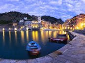 Moored boats in the port of Vernazza at dusk, Cinque Terre, UNESCO World Heritage Site, Liguria, Italy, Europe - RHPLF07202