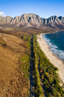 Drone imagery of Kogel Bay Beach an hour from Cape Town, South Africa, Africa - RHPLF07226