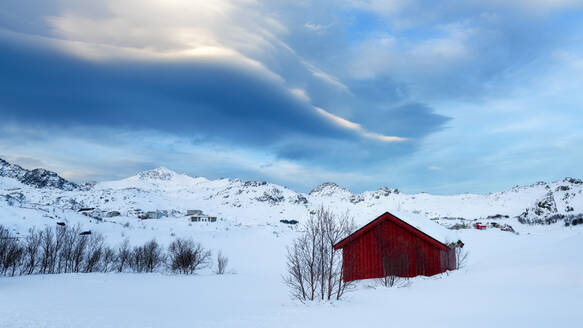 Red Cabin in the Snow, Lofoten Islands, Nordland, Norway, Europe - RHPLF07313