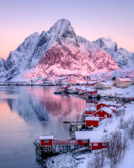 Sunrise at Reine, Lofoten Islands, Nordland, Norway, Europe - RHPLF07319