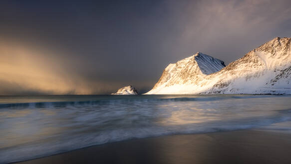 A dramatic Haukland Beach, Lofoten, Nordland, Norway, Europe - RHPLF07322