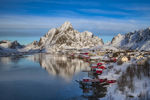 Reine fishing village in winter, Reinefjord, Moskenesoya, Lofoten, Arctic, Norway, Europe - RHPLF07397