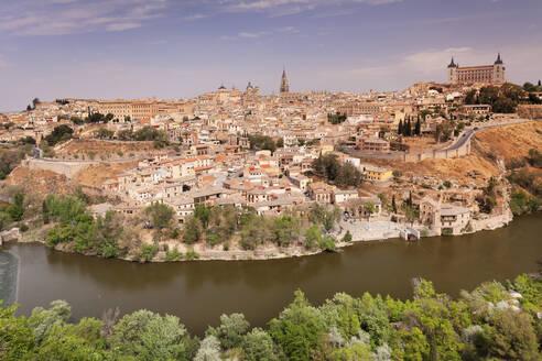 View over Tajo River at Santa Maria Cathedral and Alcazar, UNESCO World Heritage Site, Toledo, Castilla-La Mancha, Spain, Europe - RHPLF07449