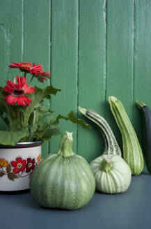Zucchinis with pumpkins by Gerbera daisy on table - GISF00460