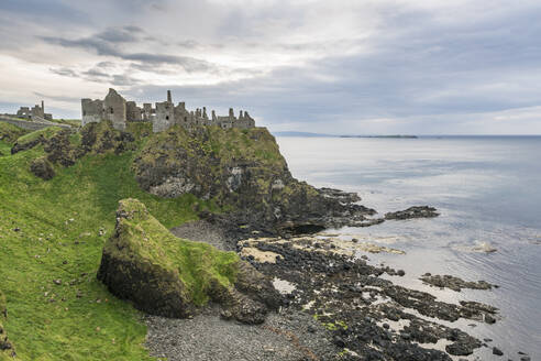 Dunluce Castle ruins, Bushmills, County Antrim, Ulster, Northern Ireland, United Kingdom, Europe - RHPLF07711