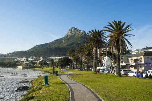 Waterfront of Camps Bay with the Lions Head in the background, suburb of Cape Town, South Africa, Africa - RHPLF08077