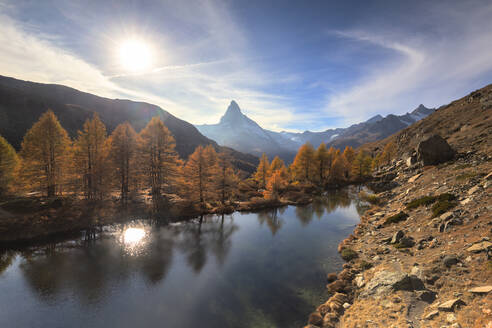 Grindjisee Lake by Matterhorn during autumn in Zermatt, Switzerland, Europe - RHPLF08350