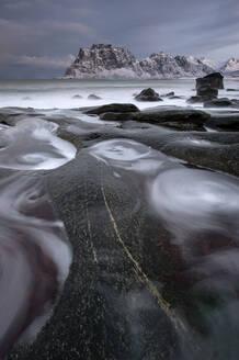 Uttakleiv beach, Lofoten, Nordland, Arctic, Norway, Europe - RHPLF08560