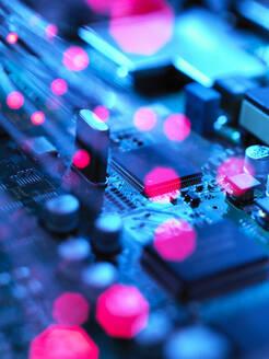 Fibre optics carrying data passing across electronic circuit board - ABRF00608