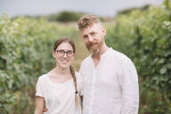 Portrait of father and adult daughter in the vineyards - ALBF01045