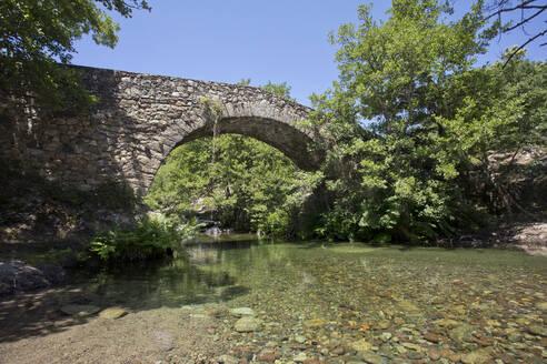 Pont de Muricciolu over Viru stream at Albertacce, Corsica, France - ZCF00796