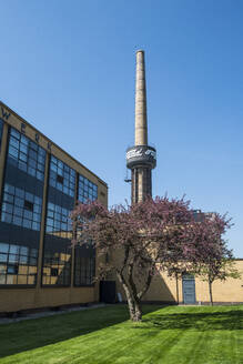 Low angle view of Fagus Factory against clear blue sky, Alfeld, Lower Saxony, Germany - RUN02901