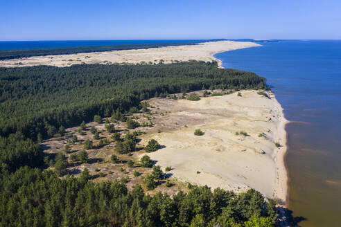 Aerial view of seascape against clear blue sky during sunny day, Curonian Spit, Russia - RUNF02910