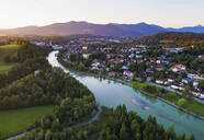 Aerial view of Isarstausee Tölz during sunrise at Bad Tölz, Isarwinkel, Upper Bavaria, Bavaria, Germany - SIEF08986