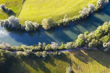 Aerial view of Loisach near Bichl, Tölzer Land, Upper Bavaria, Bavaria, Germany - SIEF08995
