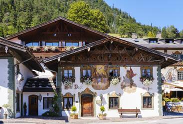 Lüftlmalerei at Hotel zur Post, Wallgau, Upper Bavaria, Bavaria, Germany - SIE09001