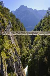 Panorama bridge against mountains, Leutasch Gorge, Tyrol, Austria - SIEF09007