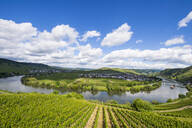 Aerial view of Mosel River bend against cloudy sky, Trittenheim, Germany - RUNF02924