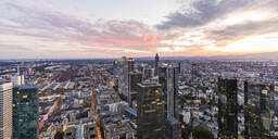 Cityscape against cloudy sky, Frankfurt, Hesse, Germany - WDF05492