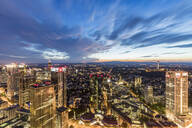 Illuminated cityscape against cloudy sky at night, Frankfurt, Hesse, Germany - WDF05501