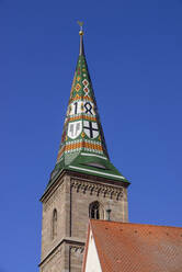 Low angle view of Liebfrauenmünster against clear blue sky in Wolframs-Eschenbach, Germany - LBF02714
