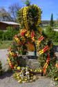 Osterbrunnen against blue sky, Hollfeld, Germany - LBF02723