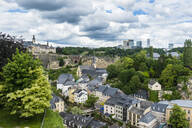 High angle view of residential buildings at old town against sky in Luxembourg - RUNF03042