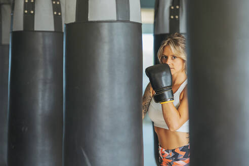 Portrait of woman with boxing gloves at sandbag in gym - DLTSF00085
