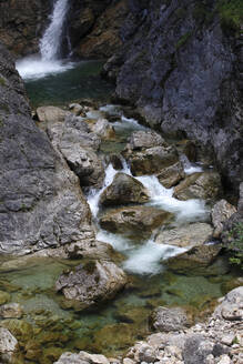 Scenic view of river flowing on rocks in forest at Fussen, Germany - JTF01313