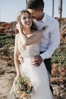 natural beach wedding shooting with a young couple, Sunset Beach, USA, California, Huntington Beach - LHPF00785