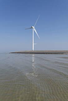 Niederlande, Zeeland, Windrad an Küste - CHPF00577