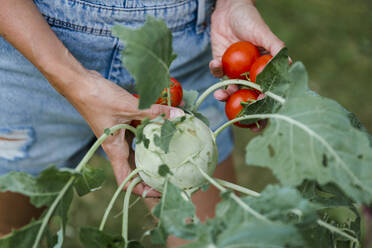 Blond woman harvesting tomatoes and kohlrabi - HMEF00533