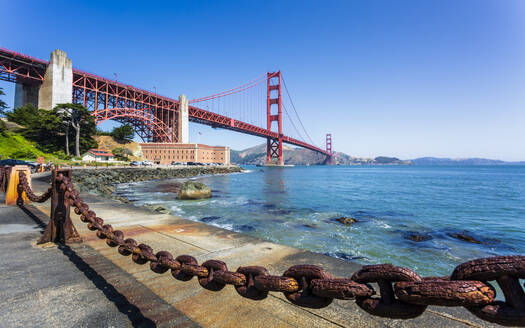 View of Golden Gate Bridge and Fort Point from Marine Drive, San Francisco, California, United States of America, North America - RHPLF09279