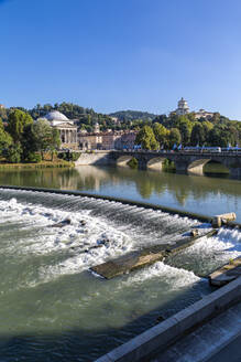 View of River Po and Church Gran Madre Di Dio, Turin, Piedmont, Italy, Europe - RHPLF09648