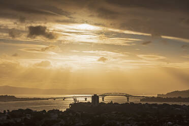 Silhouette Auckland Harbour Bridge over sea against sky at sunset, New Zealand - FOF10883