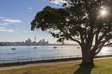 Modern buildings and Devonport by sea against sky in Auckland, New Zealand - FOF10898