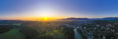 Aerial view of Bad Toelz against clear sky at sunrise, Isarwinkel, Germany - LHF00703