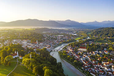 Aerial view of Bad Toelz against clear sky during sunrise, Bavaria, Germany - LHF00706