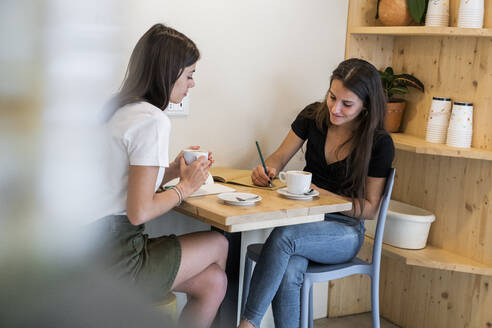 Two young women taking notes in a cafe - GIOF07072